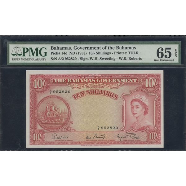 Bahamas - 1953 (ND) Bahamas Government Ten Shillings