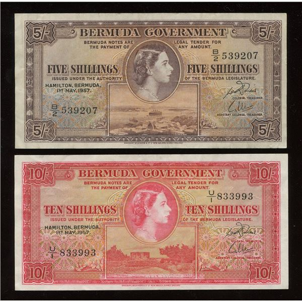 Bermuda - 1957 British Colony Bermuda 5 & 10 Shillings