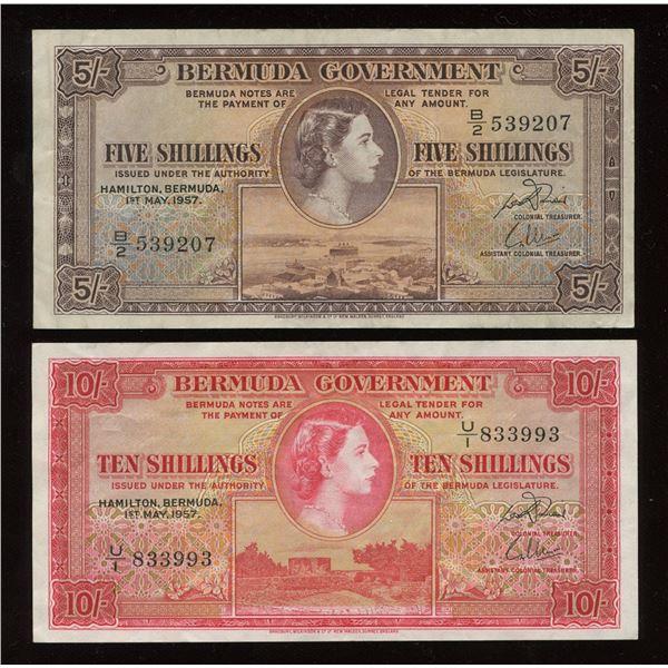 Bermuda - 1957 British Colony Bermuda 5 & 10 Shillings