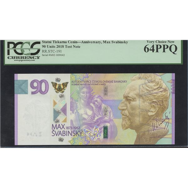 CZECH - STATNI TISKARNA CENIN 90 Units Test Note, 2018