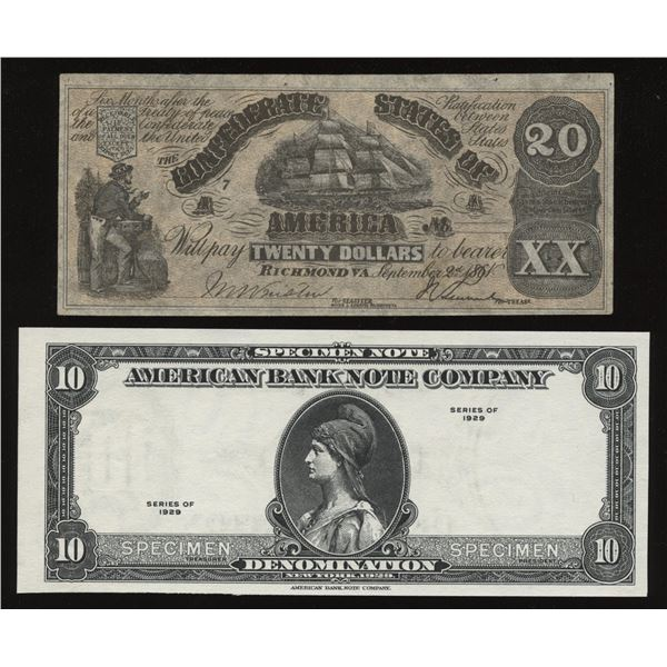 1929 American Bank Note Company $10 Test Note