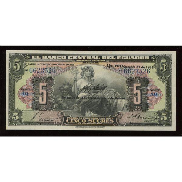 Ecuador - 1938 Ecuador 5 Sucres