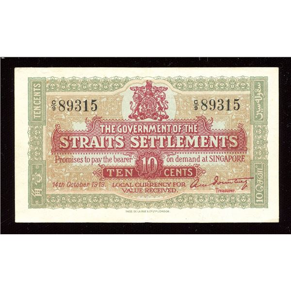 Straits Settlements - 1919 Ten Cents