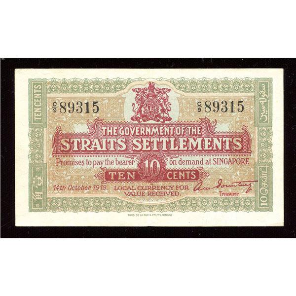Straits Settlements - 1919 Ten Cents