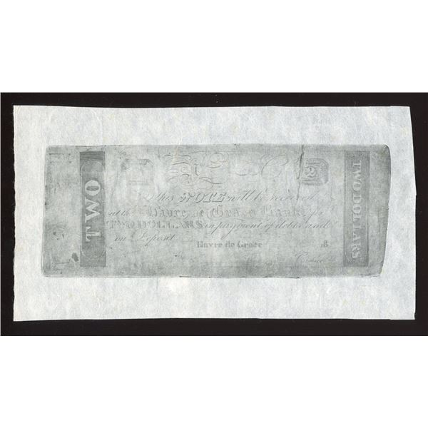 Havre de Grace Bank $2, Maryland, 1810s-1820s, Probable Counterfeit, Reprint.