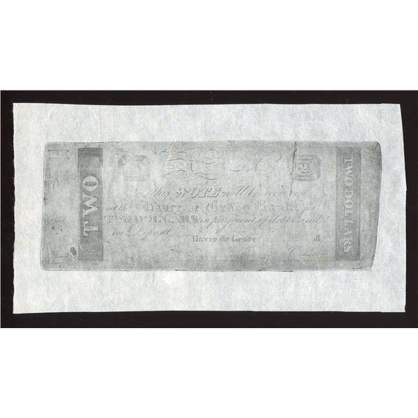 Havre de Grace Bank $2, Maryland, 1810s-1820s, Probable Counterfeit, Reprint.