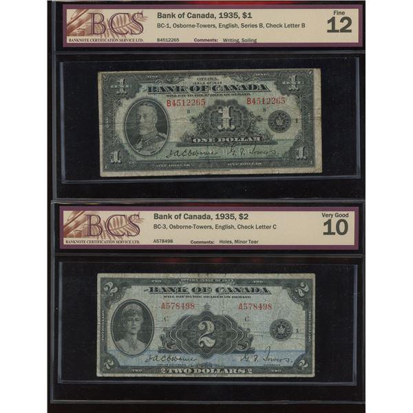 Bank of Canada BCS Graded $1 & $2, 1935 Banknotes