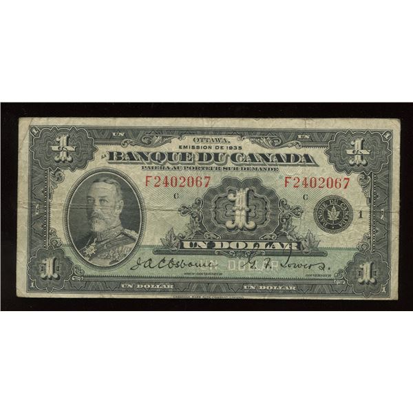 Bank of Canada $1, 1935 - French Issue