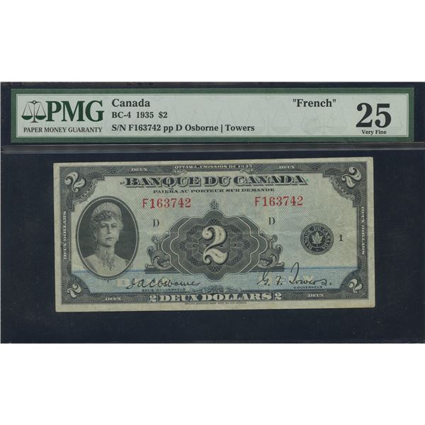 Bank of Canada $2, 1935 - French Issue