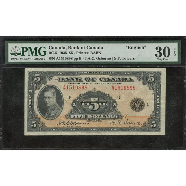 Bank of Canada $5, 1935
