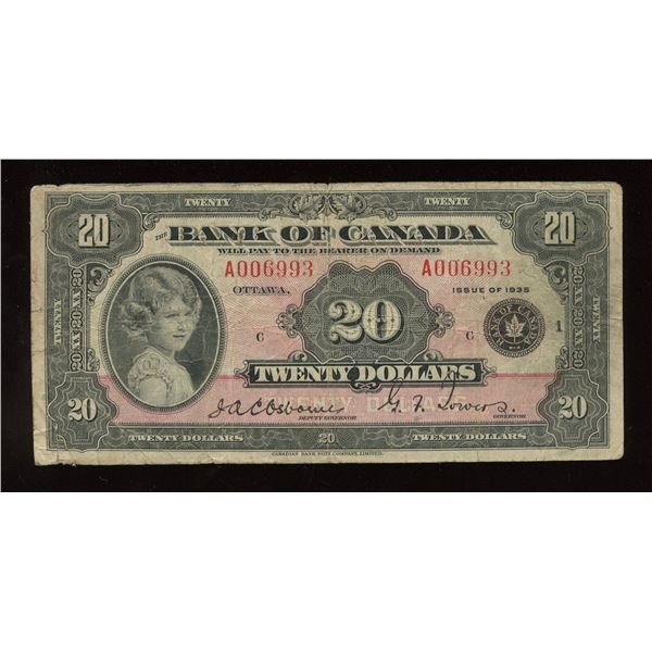 Bank of Canada $20, 1935 Large Seal