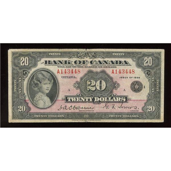 Bank of Canada $20, 1935 Small Seal