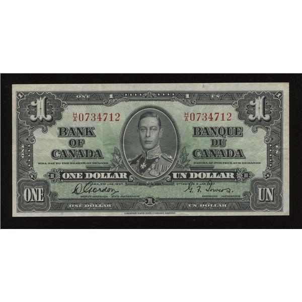 Bank of Canada $1, 1937 - Rare H/A Prefix