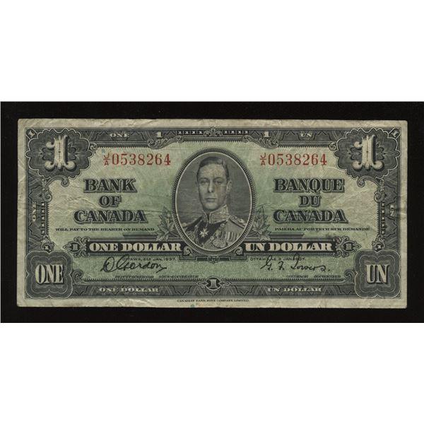 Bank of Canada $1, 1937 - Rare J/A Prefix