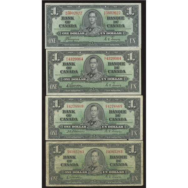 Bank of Canada $1, 1937 - Lot of 4