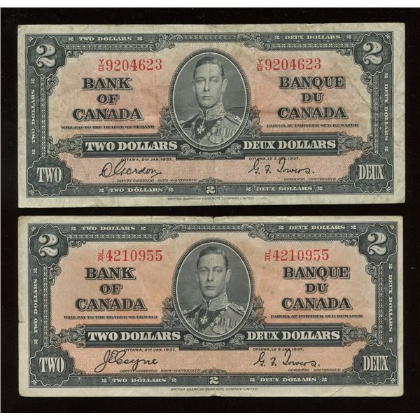 Bank of Canada $2, 1937 - Lot of 2