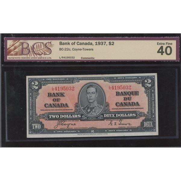 Bank of Canada $2, 1937 Transitional Prefix
