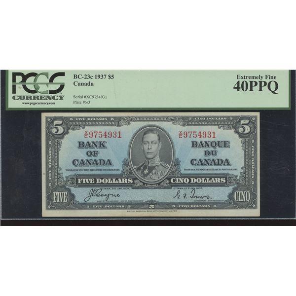 Bank of Canada $5, 1937 Changeover Prefix