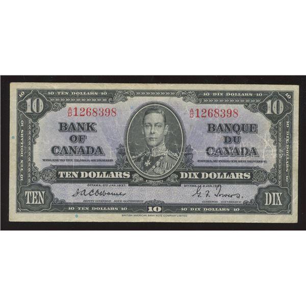 Bank of Canada $10, 1937, Rare Osborne