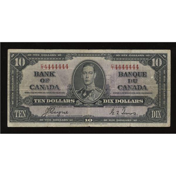 RADAR - Solid Number $10, 1937 Bank of Canada