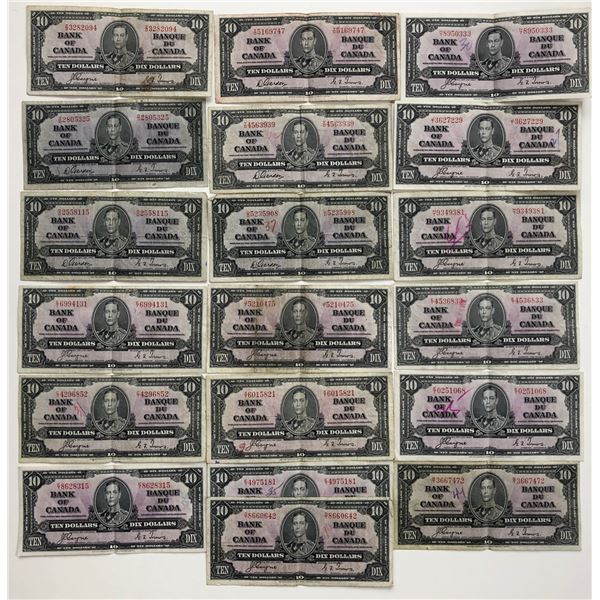 Bank of Canada $10, 1937 - Lot of 19 Notes