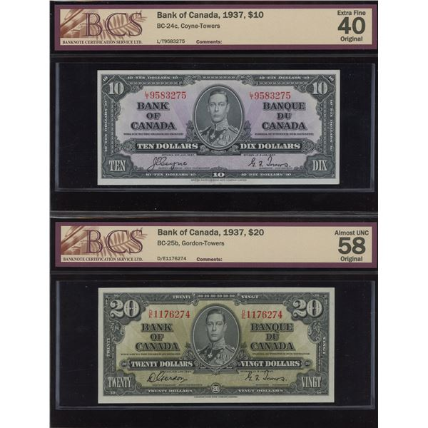 Bank of Canada, 1937 -  BCS Graded Lot of 2 Notes