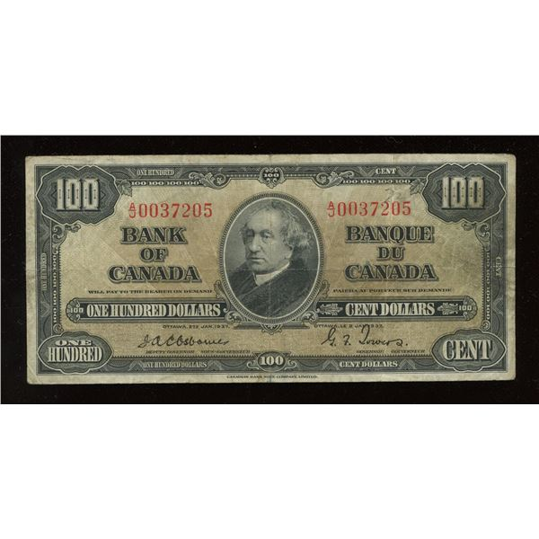 Bank of Canada $100, 1937 - Osborne Signature