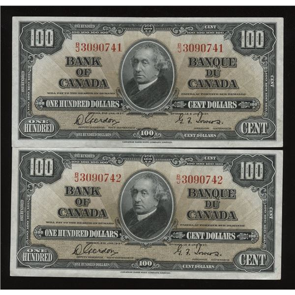Bank of Canada $100, 1937 - Consecutive Pair