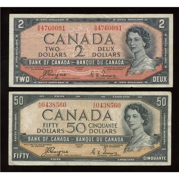 Bank of Canada $2 & $50, 1954 Devil's Face Pair