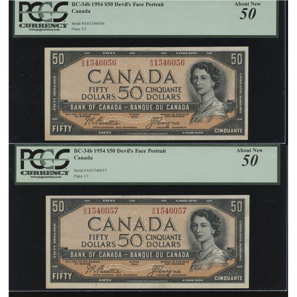 Bank of Canada $50, 1954 Devil's Face Consecutive Pair
