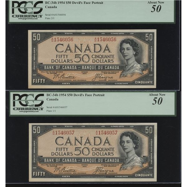 Bank of Canada $50, 1954 Devil's Face Consecutive Pair