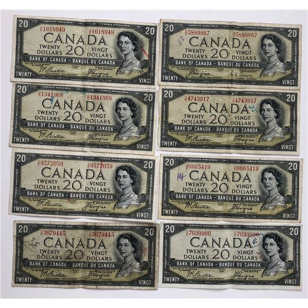 Bank of Canada $20, 1954 Devil's Face - Lot of 8 Notes