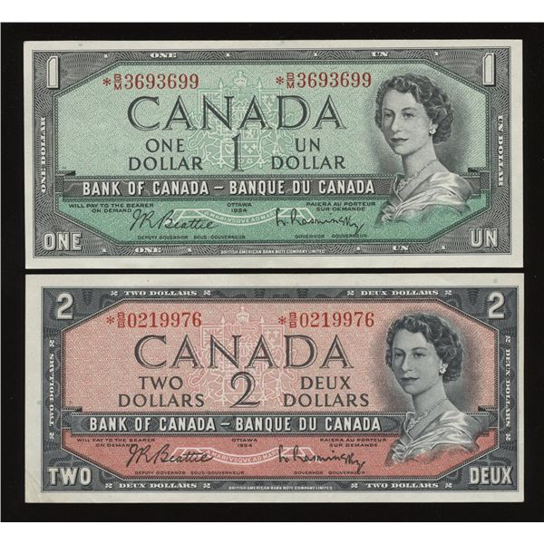 1954 Bank of Canada $1 & $2 - Lot of 2 Replacement Notes