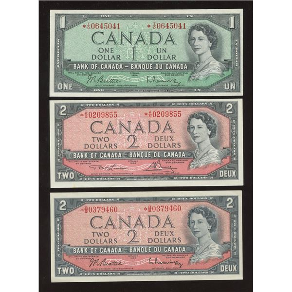 1954 Bank of Canada $1 & $2's - Lot of 3 Replacement Notes