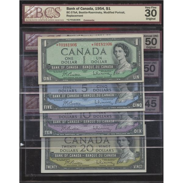 Bank of Canada, 1954 - BCS Graded Lot of 3 Notes