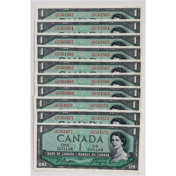 Bank of Canada $1, 1954 - Lot of 10 Consecutive