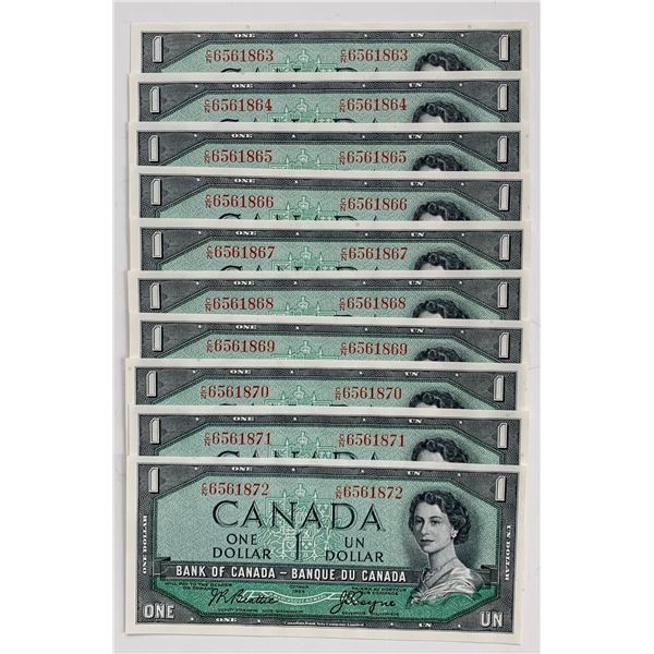 Bank of Canada $1, 1954 - Lot of 10 Consecutive