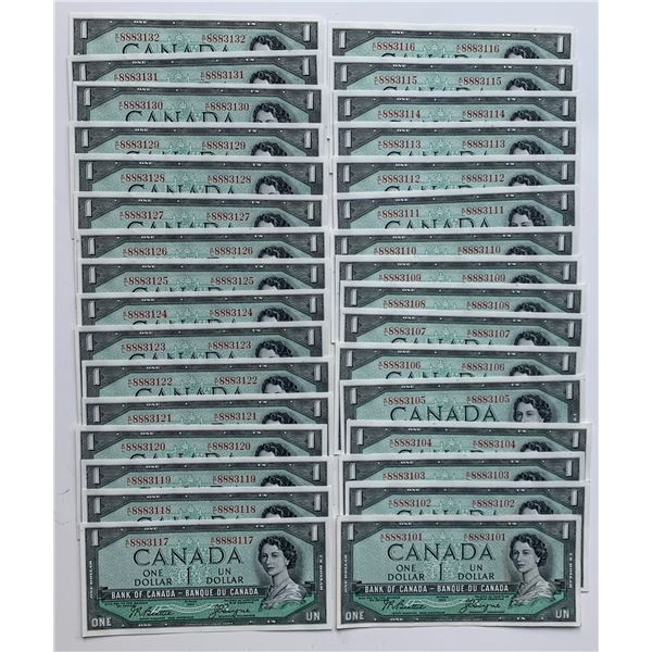 Bank of Canada $1, 1954 - Lot of 32 Consecutive
