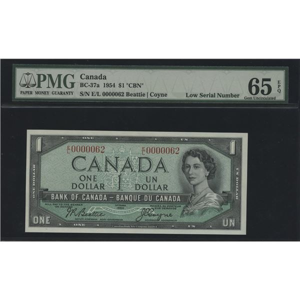 Bank of Canada $1, 1954 - Low Serial Number