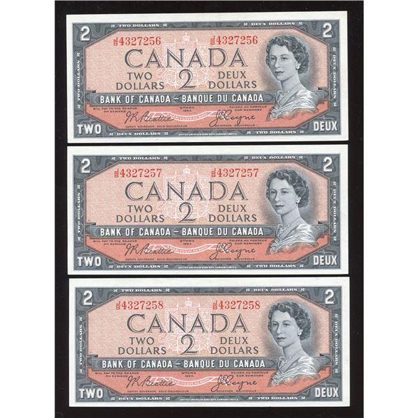 Bank of Canada $2, 1954 - Lot of 3 Consecutive