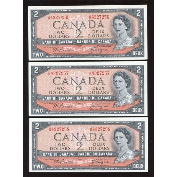 Bank of Canada $2, 1954 - Lot of 3 Consecutive