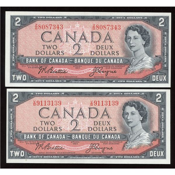 Bank of Canada $2, 1954 Banknote Pair
