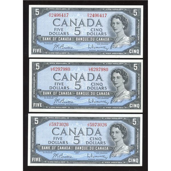 Bank of Canada $5, 1954 - Lot of 3