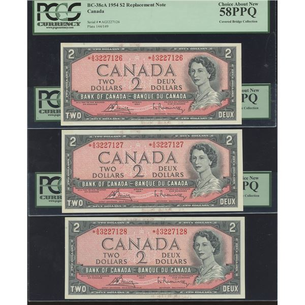 Bank of Canada $2, 1954 *A/G, 5 x Consecutive