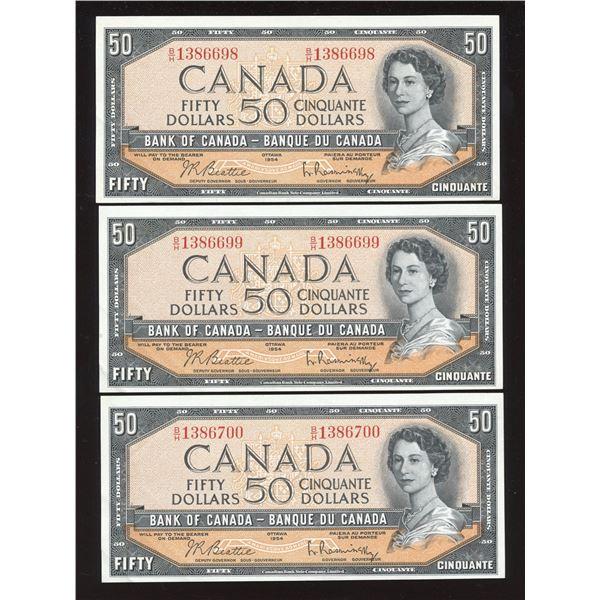 Bank of Canada $50, 1954 - Lot of 3 Consecutive Notes