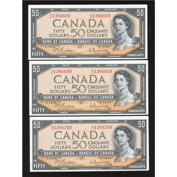 Bank of Canada $50, 1954 - Lot of 3 Consecutive Notes