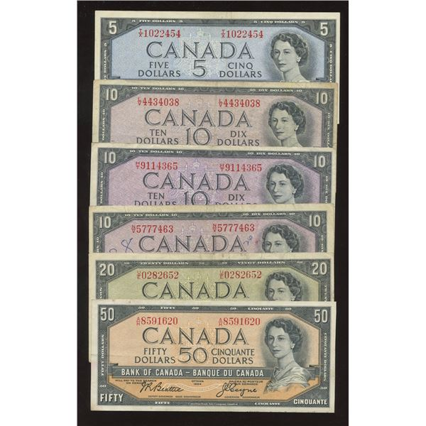 Bank of Canada $5 - $50, 1954 - Lot of 6 Banknotes