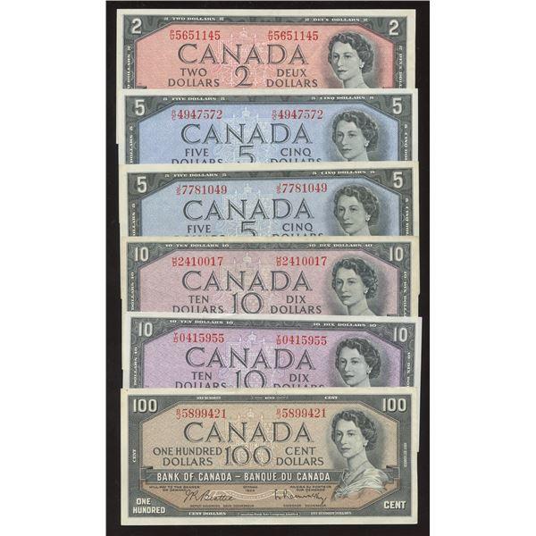 Bank of Canada $2 - $100, 1954 - Lot of 6 Banknotes