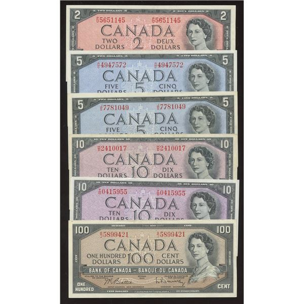 Bank of Canada $2 - $100, 1954 - Lot of 6 Banknotes