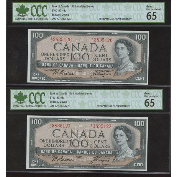 Bank of Canada $100, 1954 Consecutive Pair